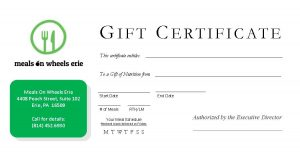 Gift Certificate for Meals on Wheels Erie. Click to enlarge image.